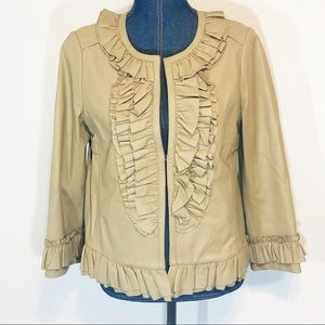 Tory Burch leather cropped jacket coat size M
